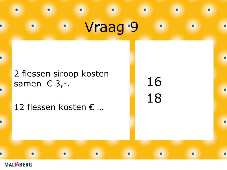Vraag 9 2 flessen siroop kosten samen € 3,-. 12 flessen kosten € … 16 18