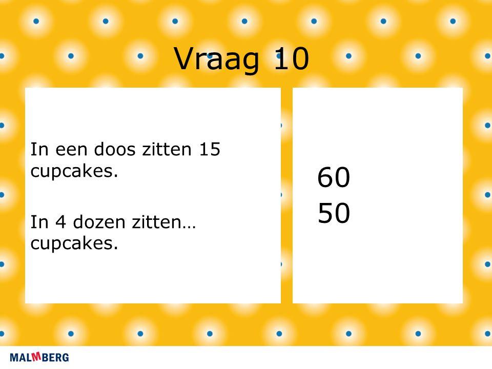Vraag 10 In een doos zitten 15 cupcakes. In 4 dozen zitten… cupcakes. 60 50
