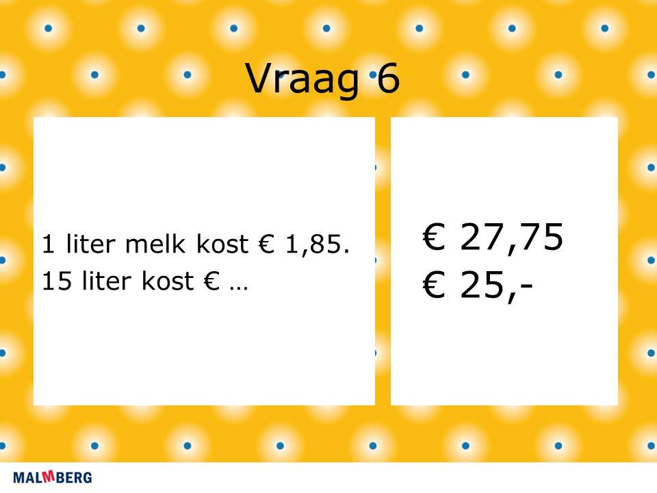 Vraag 6 1 liter melk kost € 1,85. 15 liter kost € … € 27,75 € 25,-