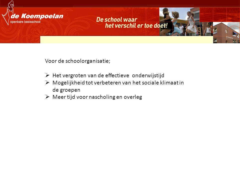 Voor de schoolorganisatie;  Het vergroten van de effectieve onderwijstijd  Mogelijkheid tot verbeteren van het sociale klimaat in de groepen  Meer tijd voor nascholing en overleg