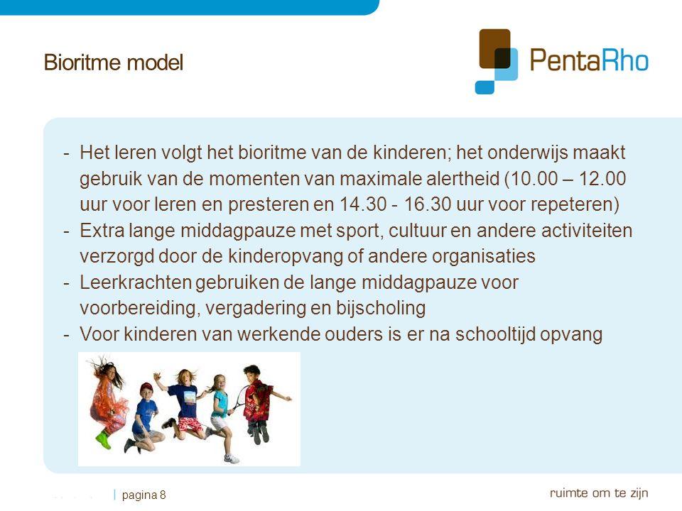 Bioritme model -Het leren volgt het bioritme van de kinderen; het onderwijs maakt gebruik van de momenten van maximale alertheid (10.00 – 12.00 uur voor leren en presteren en 14.30 - 16.30 uur voor repeteren) -Extra lange middagpauze met sport, cultuur en andere activiteiten verzorgd door de kinderopvang of andere organisaties -Leerkrachten gebruiken de lange middagpauze voor voorbereiding, vergadering en bijscholing -Voor kinderen van werkende ouders is er na schooltijd opvang pagina 8