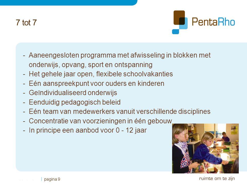 7 tot 7 -Aaneengesloten programma met afwisseling in blokken met onderwijs, opvang, sport en ontspanning -Het gehele jaar open, flexibele schoolvakanties -Eén aanspreekpunt voor ouders en kinderen -Geïndividualiseerd onderwijs -Eenduidig pedagogisch beleid -Eén team van medewerkers vanuit verschillende disciplines -Concentratie van voorzieningen in één gebouw -In principe een aanbod voor 0 - 12 jaar pagina 9