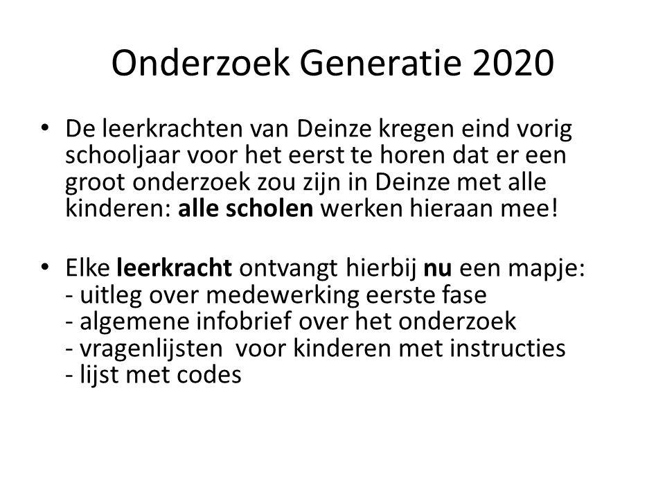 Onderzoek Generatie 2020 De leerkrachten van Deinze kregen eind vorig schooljaar voor het eerst te horen dat er een groot onderzoek zou zijn in Deinze met alle kinderen: alle scholen werken hieraan mee.