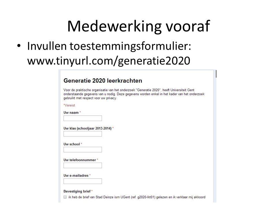 Medewerking vooraf Invullen toestemmingsformulier: www.tinyurl.com/generatie2020