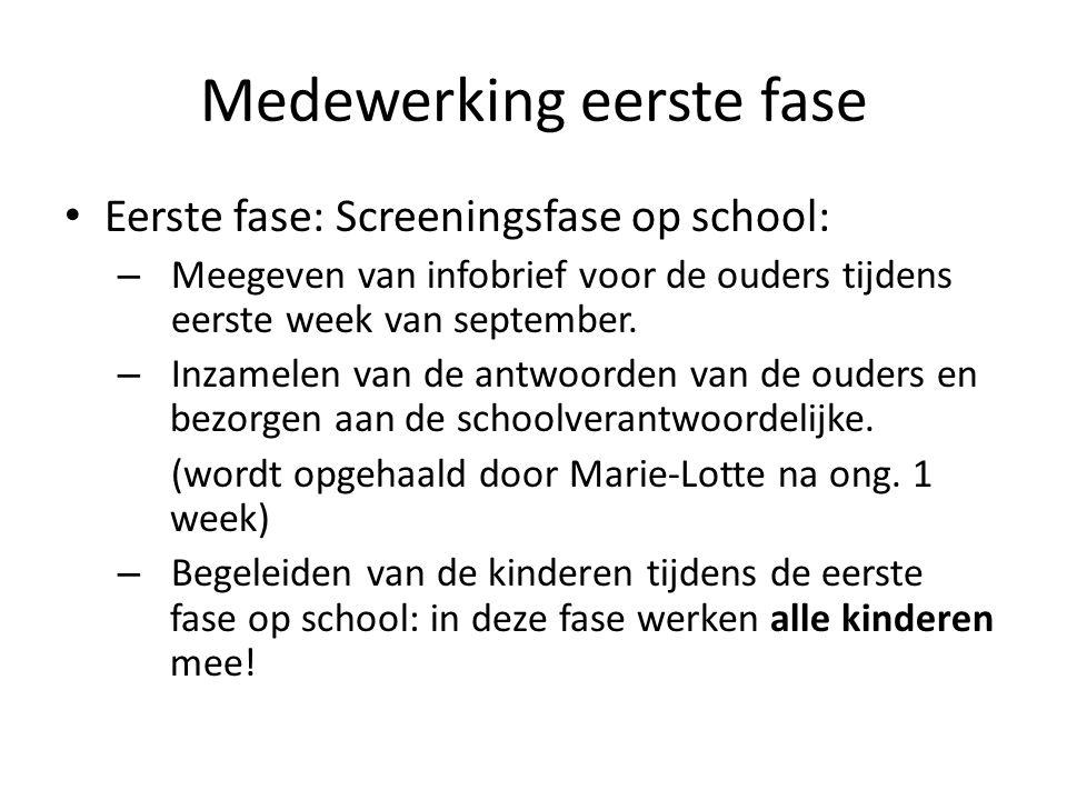 Medewerking eerste fase Eerste fase: Screeningsfase op school: – Meegeven van infobrief voor de ouders tijdens eerste week van september.