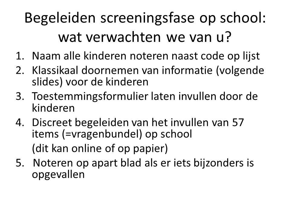 Begeleiden screeningsfase op school: wat verwachten we van u.