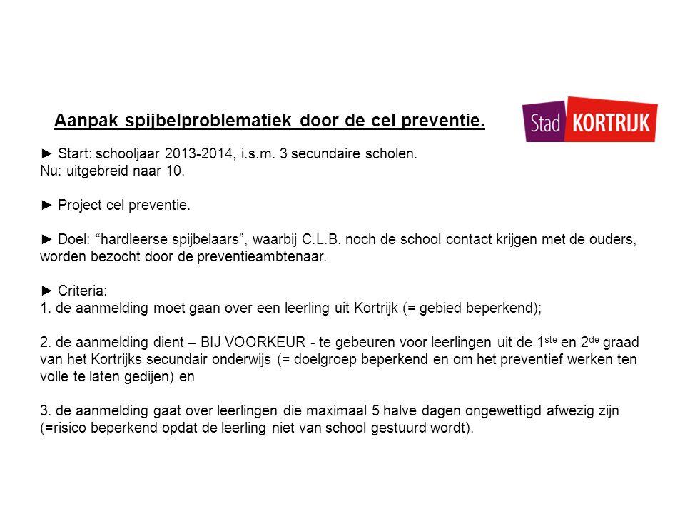 Aanpak spijbelproblematiek door de cel preventie.► Start: schooljaar 2013-2014, i.s.m.