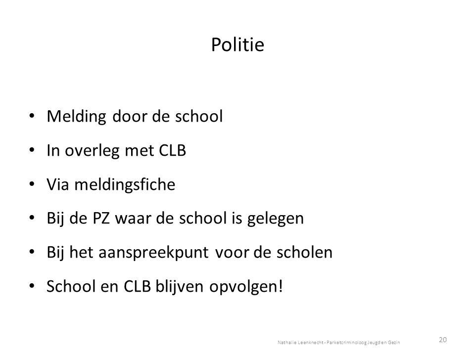 Melding door de school In overleg met CLB Via meldingsfiche Bij de PZ waar de school is gelegen Bij het aanspreekpunt voor de scholen School en CLB blijven opvolgen.