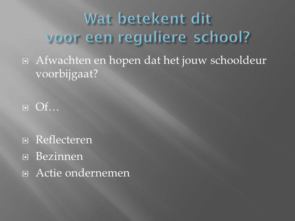  Afwachten en hopen dat het jouw schooldeur voorbijgaat?  Of…  Reflecteren  Bezinnen  Actie ondernemen
