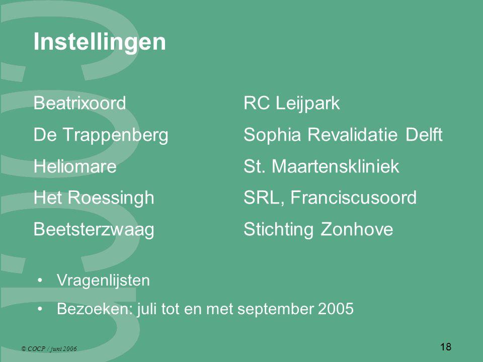 © COCP / juni 2006 18 Instellingen Beatrixoord De Trappenberg Heliomare Het Roessingh Beetsterzwaag RC Leijpark Sophia Revalidatie Delft St.