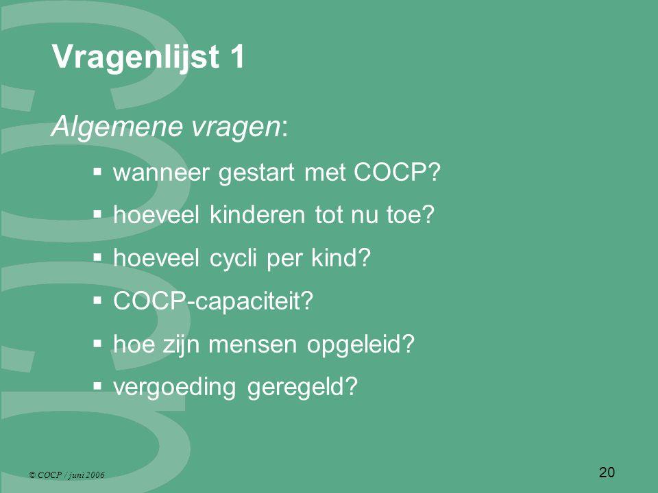 © COCP / juni 2006 20 Vragenlijst 1 Algemene vragen:  wanneer gestart met COCP.