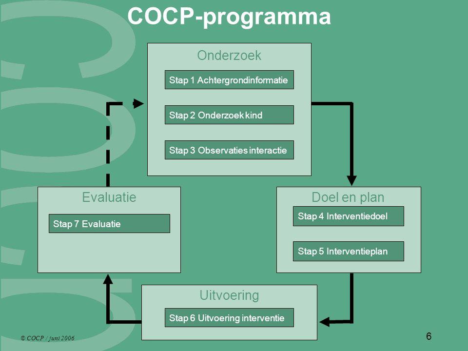 © COCP / juni 2006 6 COCP-programma Onderzoek Stap 1 Achtergrondinformatie Stap 2 Onderzoek kind Stap 3 Observaties interactie Uitvoering Stap 6 Uitvoering interventie Evaluatie Stap 7 Evaluatie Doel en plan Stap 4 Interventiedoel Stap 5 Interventieplan