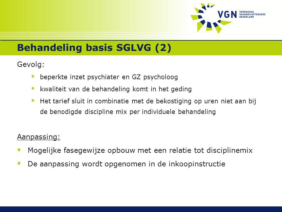 Behandeling basis SGLVG (2) Gevolg:  beperkte inzet psychiater en GZ psycholoog  kwaliteit van de behandeling komt in het geding  Het tarief sluit