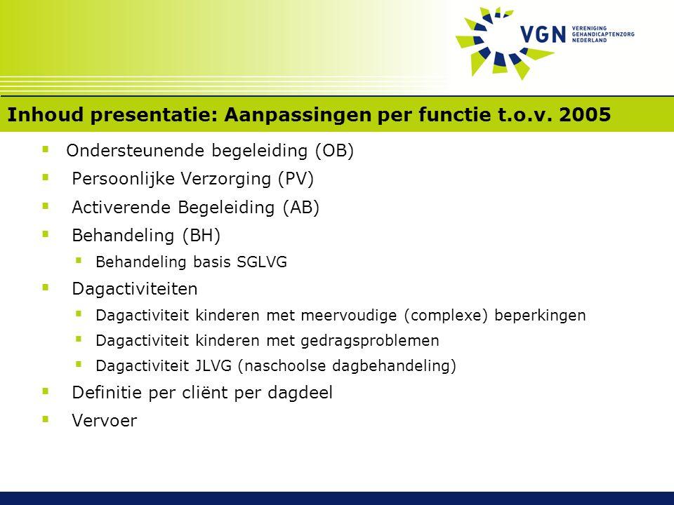 Inhoud presentatie: Aanpassingen per functie t.o.v. 2005  Ondersteunende begeleiding (OB)  Persoonlijke Verzorging (PV)  Activerende Begeleiding (A