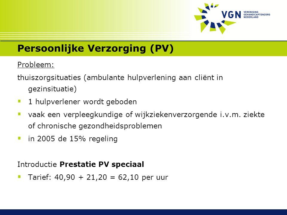 Persoonlijke Verzorging (PV) Probleem: thuiszorgsituaties (ambulante hulpverlening aan cliënt in gezinsituatie)  1 hulpverlener wordt geboden  vaak