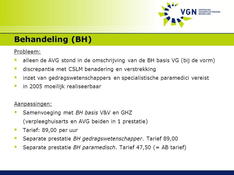Behandeling (BH) Probleem:  alleen de AVG stond in de omschrijving van de BH basis VG (bij de vorm)  discrepantie met CSLM benadering en verstrekkin