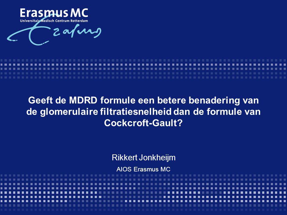 Geeft de MDRD formule een betere benadering van de glomerulaire filtratiesnelheid dan de formule van Cockcroft-Gault.