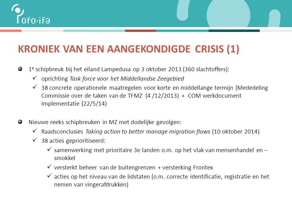 KRONIEK VAN EEN AANGEKONDIGDE CRISIS (1) 1 e schipbreuk bij het eiland Lampedusa op 3 oktober 2013 (360 slachtoffers): oprichting Task force voor het Middellandse Zeegebied 38 concrete operationele maatregelen voor korte en middellange termijn (Mededeling Commissie over de taken van de TFMZ (4 /12/2013) + COM werkdocument implementatie (22/5/14) Nieuwe reeks schipbreuken in MZ met dodelijke gevolgen: Raadsconclusies Taking action to better manage migration flows (10 oktober 2014) 38 acties geprioritiseerd: samenwerking met prioritaire 3e landen o.m.