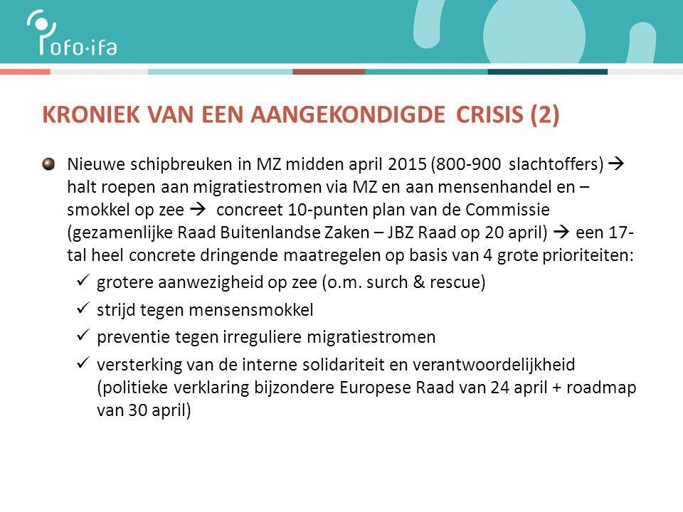 KRONIEK VAN EEN AANGEKONDIGDE CRISIS (2) Nieuwe schipbreuken in MZ midden april 2015 (800-900 slachtoffers)  halt roepen aan migratiestromen via MZ en aan mensenhandel en – smokkel op zee  concreet 10-punten plan van de Commissie (gezamenlijke Raad Buitenlandse Zaken – JBZ Raad op 20 april)  een 17- tal heel concrete dringende maatregelen op basis van 4 grote prioriteiten: grotere aanwezigheid op zee (o.m.