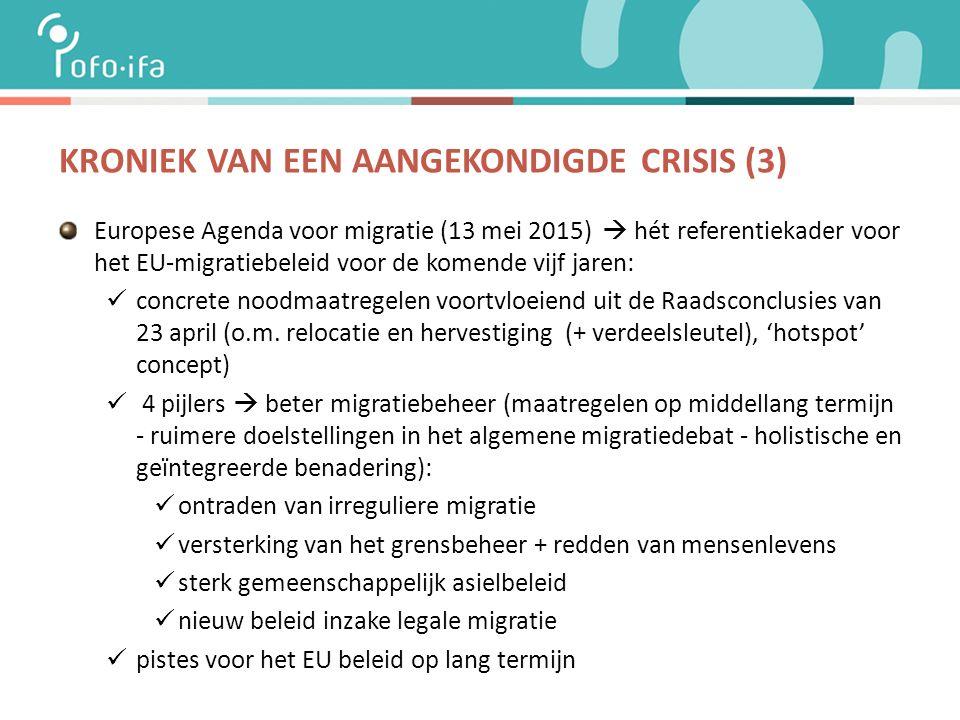 KRONIEK VAN EEN AANGEKONDIGDE CRISIS (3) Europese Agenda voor migratie (13 mei 2015)  hét referentiekader voor het EU-migratiebeleid voor de komende vijf jaren: concrete noodmaatregelen voortvloeiend uit de Raadsconclusies van 23 april (o.m.
