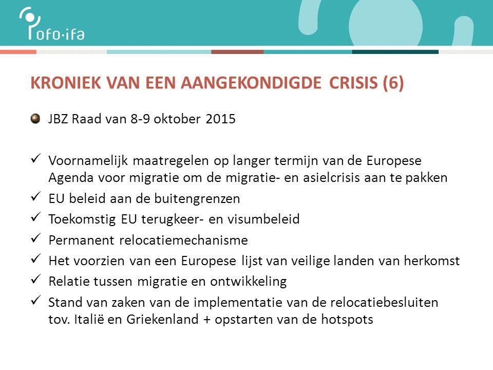 KRONIEK VAN EEN AANGEKONDIGDE CRISIS (6) JBZ Raad van 8-9 oktober 2015 Voornamelijk maatregelen op langer termijn van de Europese Agenda voor migratie om de migratie- en asielcrisis aan te pakken EU beleid aan de buitengrenzen Toekomstig EU terugkeer- en visumbeleid Permanent relocatiemechanisme Het voorzien van een Europese lijst van veilige landen van herkomst Relatie tussen migratie en ontwikkeling Stand van zaken van de implementatie van de relocatiebesluiten tov.