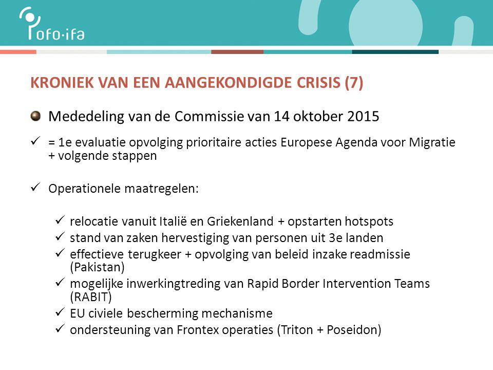 KRONIEK VAN EEN AANGEKONDIGDE CRISIS (7) Mededeling van de Commissie van 14 oktober 2015 = 1e evaluatie opvolging prioritaire acties Europese Agenda voor Migratie + volgende stappen Operationele maatregelen: relocatie vanuit Italië en Griekenland + opstarten hotspots stand van zaken hervestiging van personen uit 3e landen effectieve terugkeer + opvolging van beleid inzake readmissie (Pakistan) mogelijke inwerkingtreding van Rapid Border Intervention Teams (RABIT) EU civiele bescherming mechanisme ondersteuning van Frontex operaties (Triton + Poseidon)