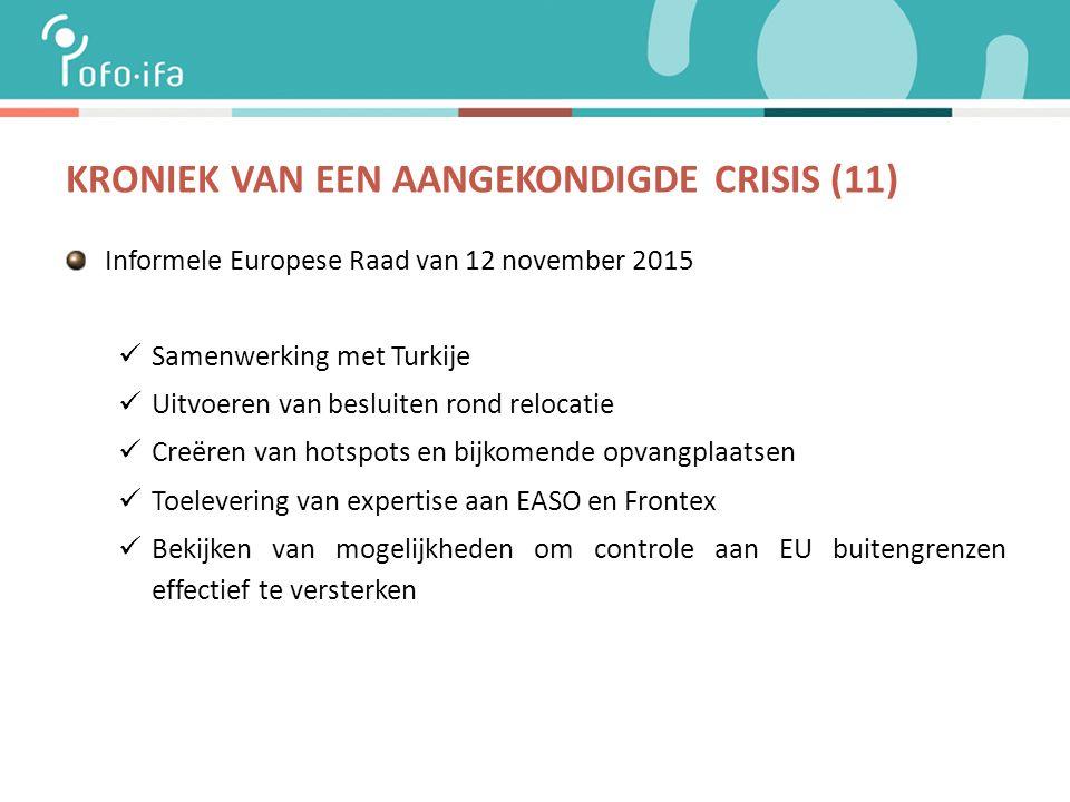 KRONIEK VAN EEN AANGEKONDIGDE CRISIS (11) Informele Europese Raad van 12 november 2015 Samenwerking met Turkije Uitvoeren van besluiten rond relocatie Creëren van hotspots en bijkomende opvangplaatsen Toelevering van expertise aan EASO en Frontex Bekijken van mogelijkheden om controle aan EU buitengrenzen effectief te versterken