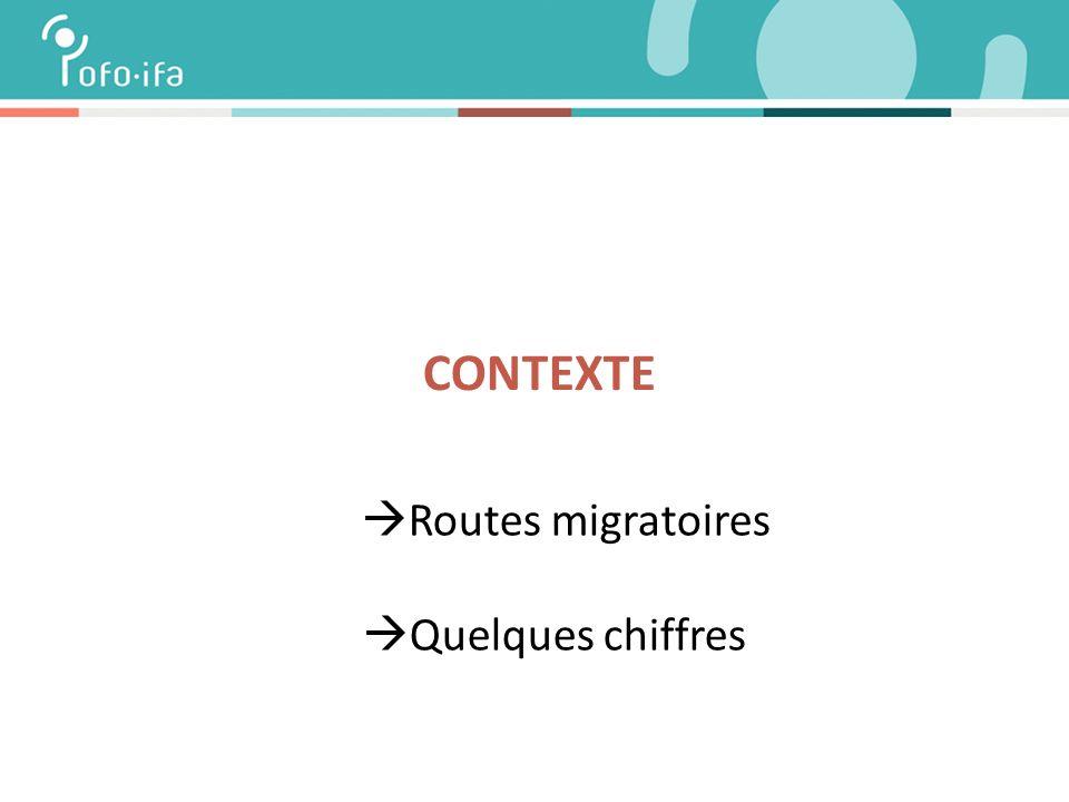  Routes migratoires  Quelques chiffres CONTEXTE