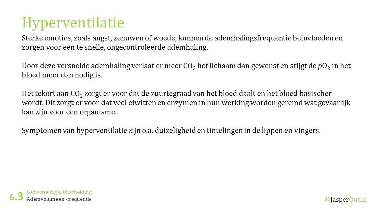 Gaswisseling & Uitscheiding 6.3 ©JasperOut.nl Ademvolume en -frequentie Hyperventilatie Sterke emoties, zoals angst, zenuwen of woede, kunnen de ademh