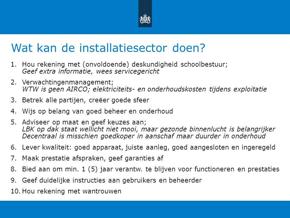 Wat kan de installatiesector doen.