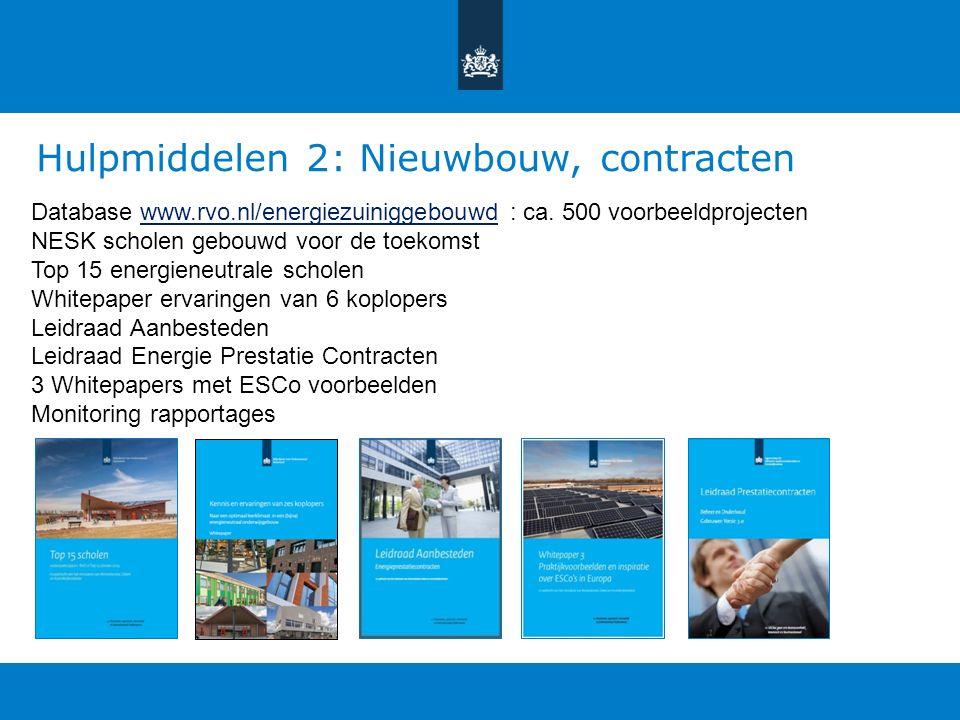 Hulpmiddelen 2: Nieuwbouw, contracten Database www.rvo.nl/energiezuiniggebouwd : ca.