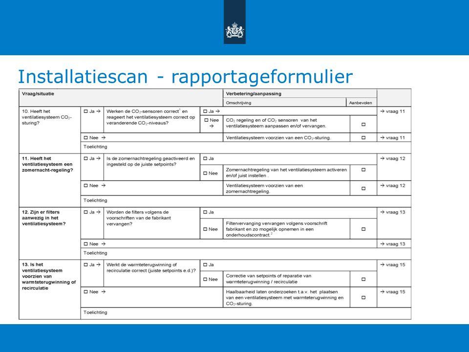 Installatiescan - rapportageformulier