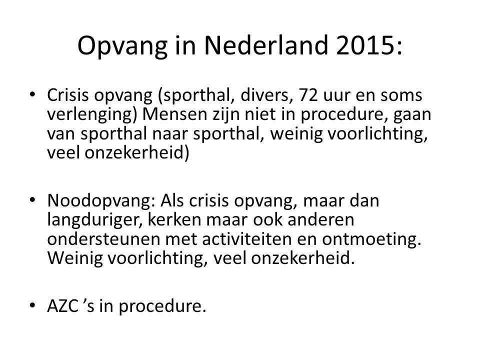 Opvang in Nederland 2015: Crisis opvang (sporthal, divers, 72 uur en soms verlenging) Mensen zijn niet in procedure, gaan van sporthal naar sporthal,