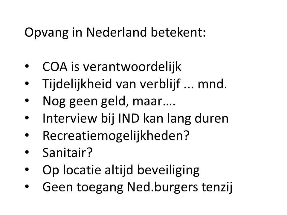 Opvang in Nederland betekent: COA is verantwoordelijk Tijdelijkheid van verblijf... mnd. Nog geen geld, maar…. Interview bij IND kan lang duren Recrea