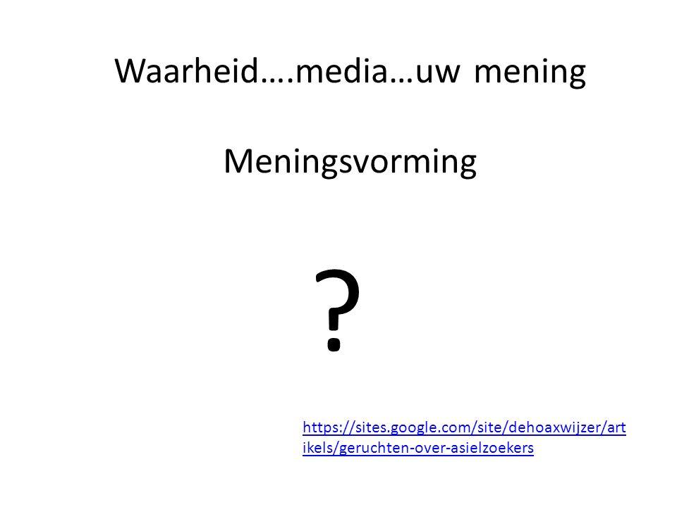 Waarheid….media…uw mening Meningsvorming .
