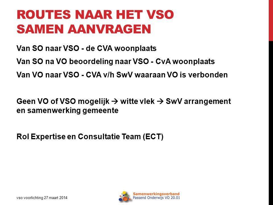 ROUTES NAAR HET VSO SAMEN AANVRAGEN Van SO naar VSO - de CVA woonplaats Van SO na VO beoordeling naar VSO - CvA woonplaats Van VO naar VSO - CVA v/h S