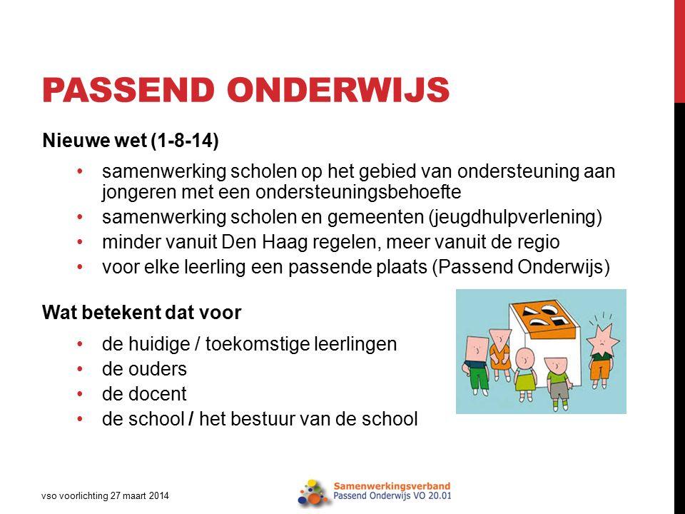 PASSEND ONDERWIJS vso voorlichting 27 maart 2014 Nieuwe wet (1-8-14) samenwerking scholen op het gebied van ondersteuning aan jongeren met een onderst