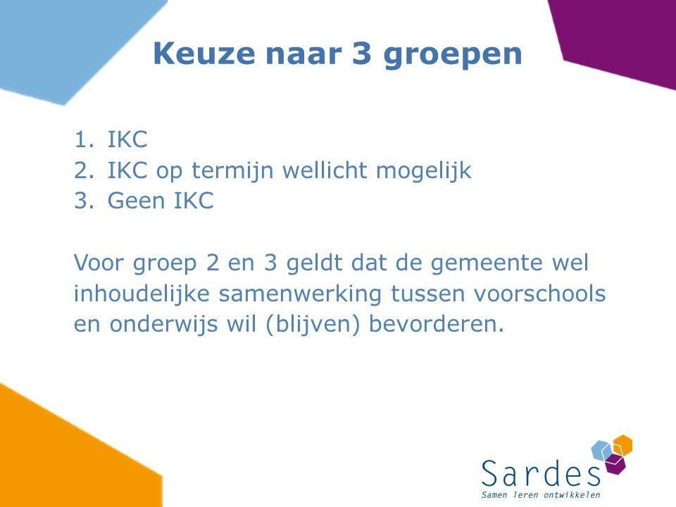 1.IKC 2.IKC op termijn wellicht mogelijk 3.Geen IKC Voor groep 2 en 3 geldt dat de gemeente wel inhoudelijke samenwerking tussen voorschools en onderwijs wil (blijven) bevorderen.