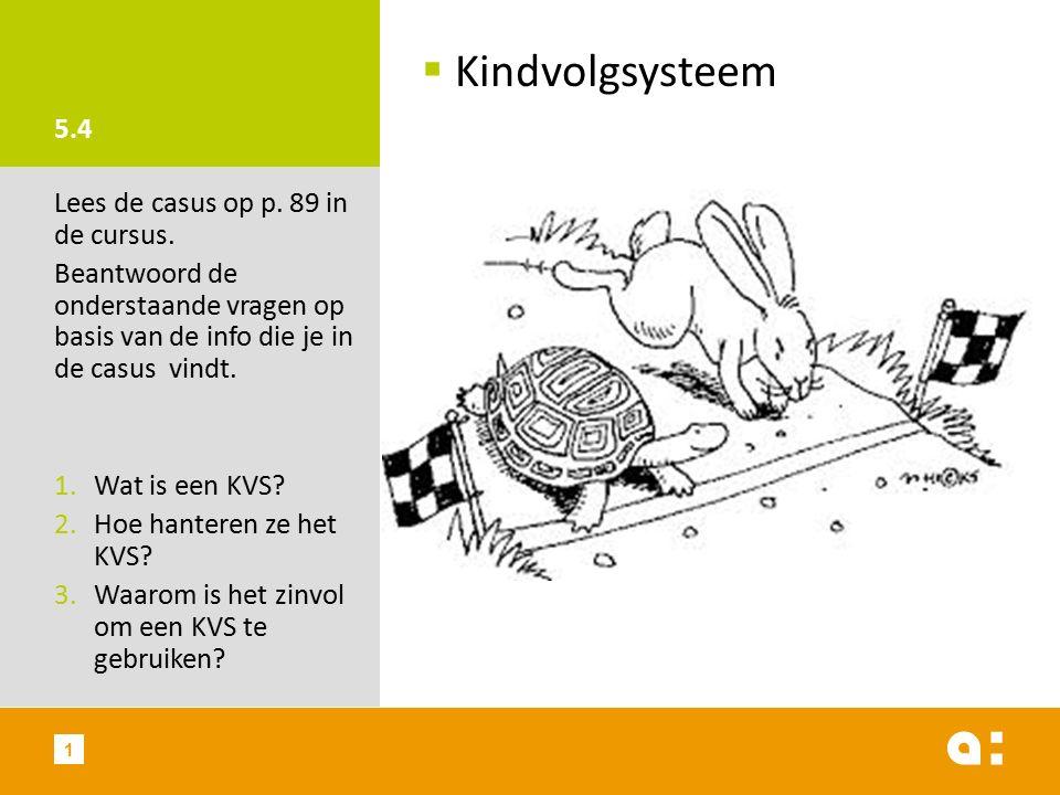 5.4  Kindvolgsysteem Lees de casus op p. 89 in de cursus.