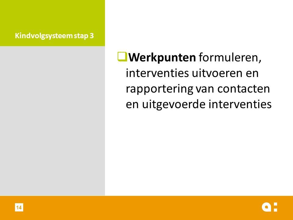 Kindvolgsysteem stap 3  Werkpunten formuleren, interventies uitvoeren en rapportering van contacten en uitgevoerde interventies 14