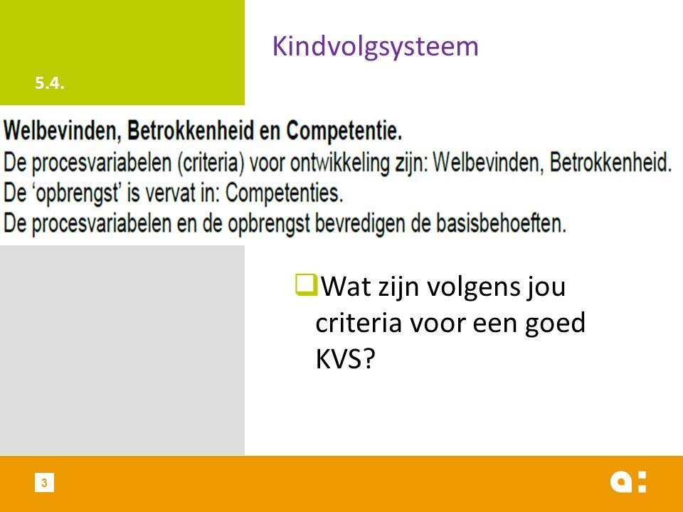 5.4. Kindvolgsysteem  Wat zijn volgens jou criteria voor een goed KVS? 3