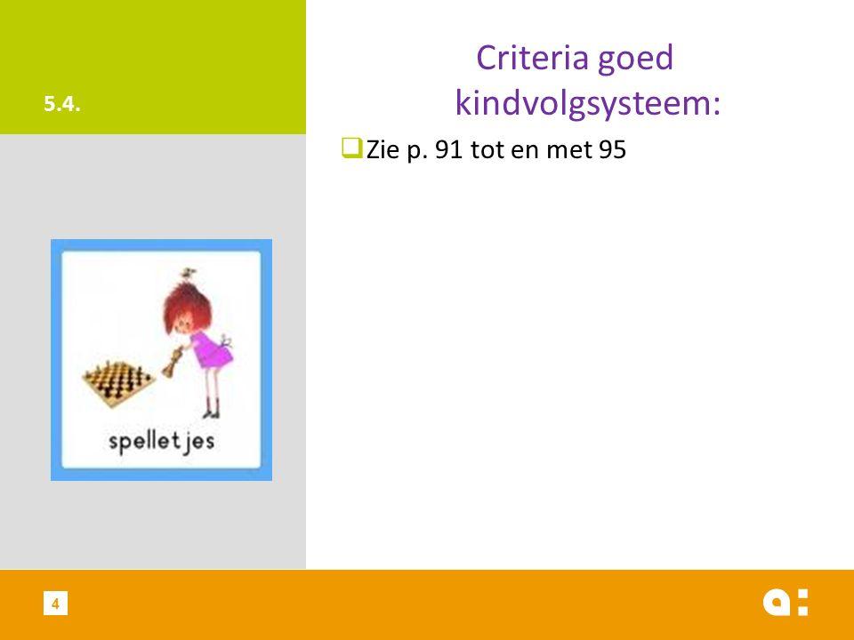 5.4. Criteria goed kindvolgsysteem:  Zie p. 91 tot en met 95 4