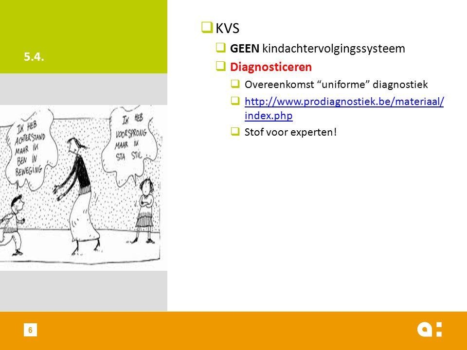 "5.4.  KVS  GEEN kindachtervolgingssysteem  Diagnosticeren  Overeenkomst ""uniforme"" diagnostiek  http://www.prodiagnostiek.be/materiaal/ index.php"