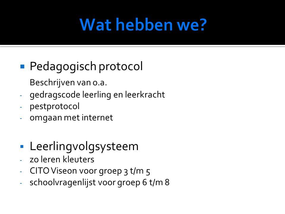  Pedagogisch protocol Beschrijven van o.a.