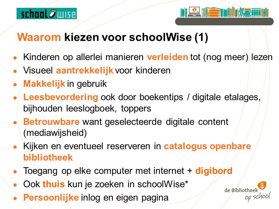 Waarom schoolWise (2) ● Scholen zijn zelfredzaam maar kunnen worden 'ontzorgd' door bibliotheek (bijv.