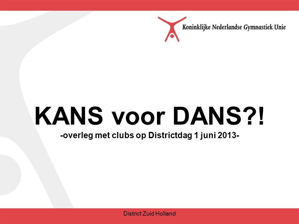 KANS voor DANS ! -overleg met clubs op Districtdag 1 juni 2013- District Zuid Holland