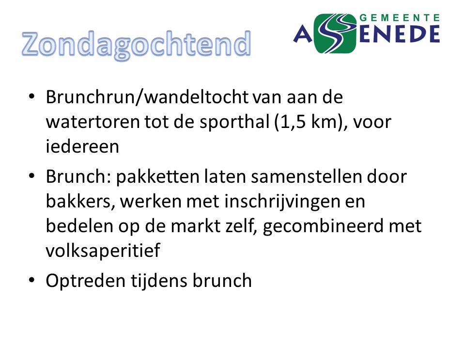 Brunchrun/wandeltocht van aan de watertoren tot de sporthal (1,5 km), voor iedereen Brunch: pakketten laten samenstellen door bakkers, werken met inschrijvingen en bedelen op de markt zelf, gecombineerd met volksaperitief Optreden tijdens brunch