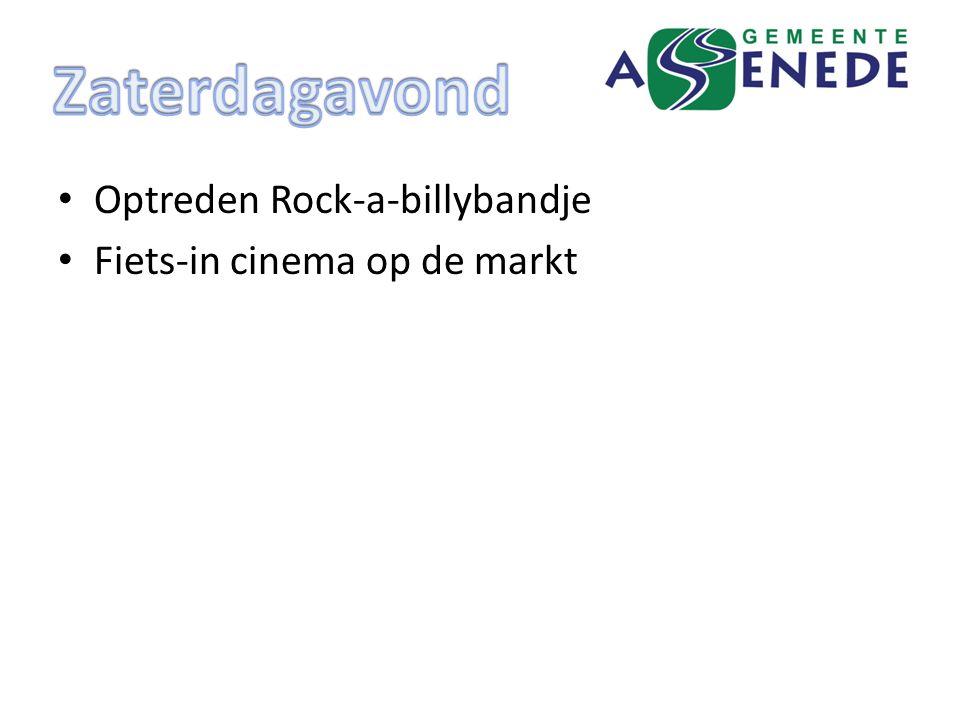 Optreden Rock-a-billybandje Fiets-in cinema op de markt