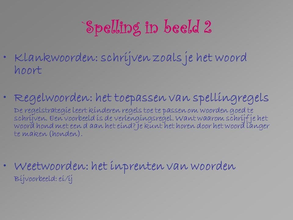 `Spelling in beeld 2 Klankwoorden: schrijven zoals je het woord hoort Regelwoorden: het toepassen van spellingregels De regelstrategie leert kinderen regels toe te passen om woorden goed te schrijven.