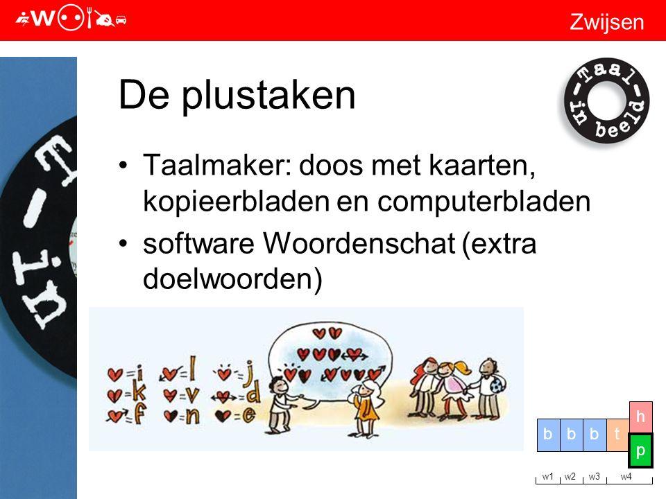 Zwijsen De plustaken Taalmaker: doos met kaarten, kopieerbladen en computerbladen software Woordenschat (extra doelwoorden) tbbb h p w1 w2 w3 w4 p